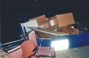 NVCC discards dumpsters full of furniture.