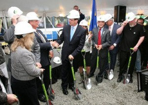 Gov. Dannel Malloy celebrates the busway's groundbreaking. Photo courtesy of DOT.