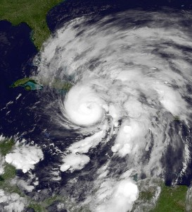 Hurricane Sandy. Photo courtesy of NOAA Environmental Visualization Lab via Wikipedia.
