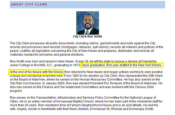 Contrary to biography on city website, New Haven official wasn't drafted by Knicks
