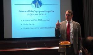 OPM Secretary Ben Barnes presents Gov. Malloy's 2014-15 budget. Photo by Zachary Janowski.